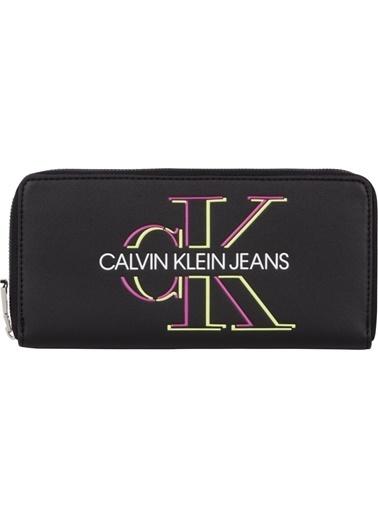 Calvin Klein  Marka Logolu Fermuarlı Cüzdan Kadın Cüzdan K60K607631 Bds Siyah